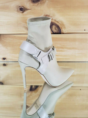 "Stunning ""Bad To The Bone"" Nude Buckle Stretch Ankle Boots"