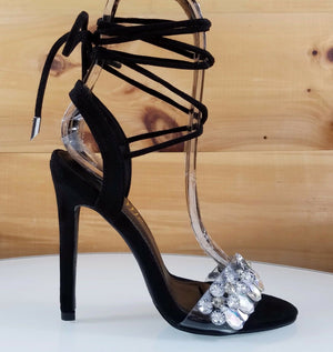 Adorable Vegan Suede Jeweled Strappy Stilettos Sandal