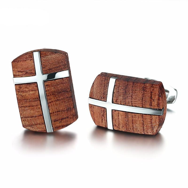 Retro Wooden Cufflinks (Cross Design)