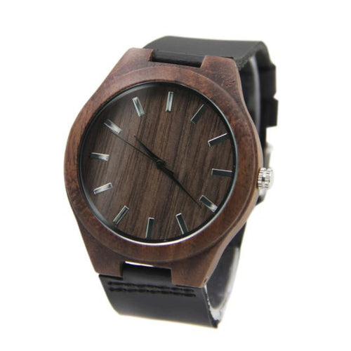 Black Leather Bamboo Wooden Watch