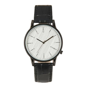 Quartz Black Leather Watch