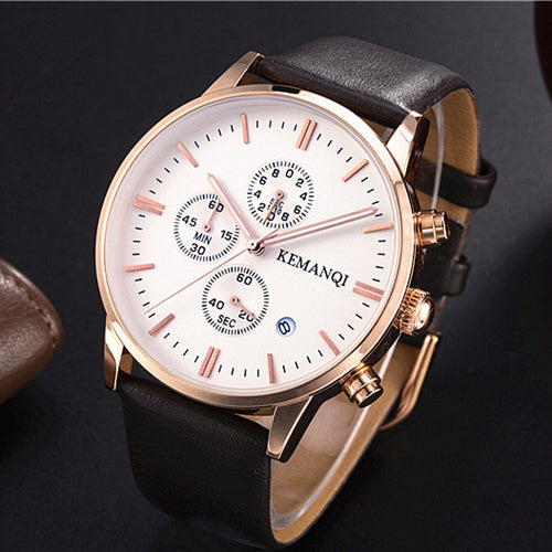 Quartz Leather Waterproof Watch