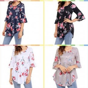 Floral Bell Sleeves Tunics