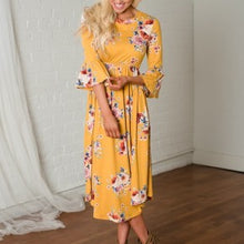 Floral Midi Dress with Bell Sleeves