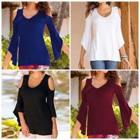 Cold Shoulder Tunic with Flare Sleeves