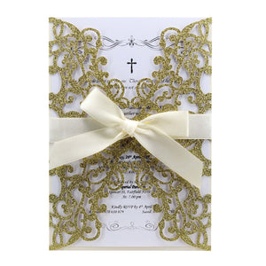 Elegant Glitter Wedding Invitations, Laser Cut Gold Glitter Invitation With Satin Ribbon