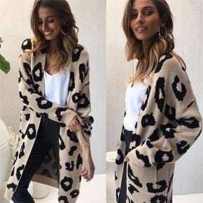Elegant Women's Beige Leopard Cardigan Long Sleeve Casual Print Open Front Coat Outwear with Pockets