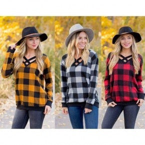 Criss Cross Neck Buffalo Plaid Top