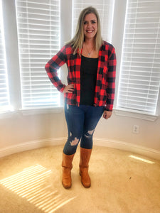 Buffalo Plaid Cardigans with patches on Sleeves