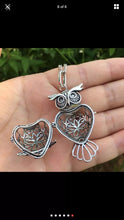 Aromatherapy Owl Pendant Essential Oils Diffuser Necklace Natural Healing Antique Silver Finish