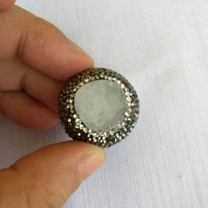 Druzy Agate Natural Ring Adjustable size 6-10 White Agate with Black Rhinestones Boho Statement Ring