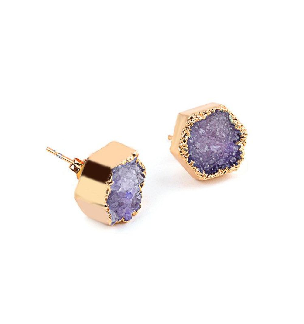 Purple Druzy Natural Stone Agate Gold Electroplated Stud  Earrings