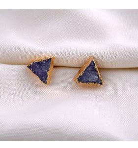 Black Purple Triangle Druzy Natural Stone Gold Electroplated Earrings