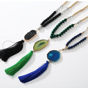 Long Druzy Beaded Tassel  Blue , Green Necklace Lovely Gift For Her