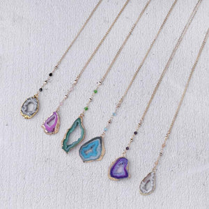 Long Hollow Druzy Stone Necklace Purple , Green , Blue , Grey, White