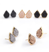 Gorgeous Colors Druzy Quartz Stud Natural Stone Earrings