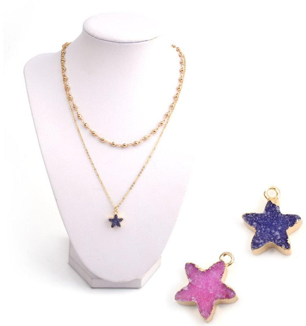 Druzy Double Strand Star Minimalist Simple Necklace