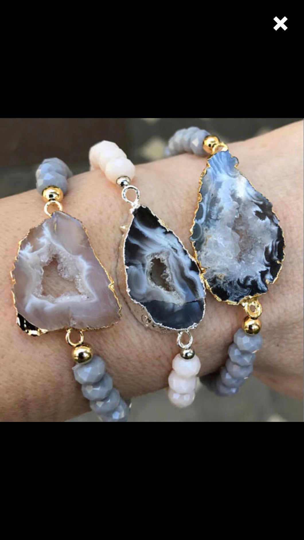 8 silver geode with silver coating and ivory beads bracelets