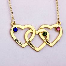 Three Hearts Family Engraved Names Birthstone Necklace