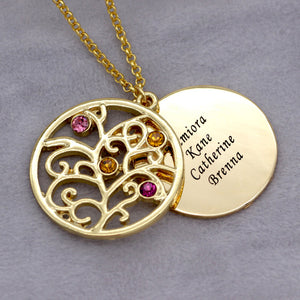 Family Tree Monogram Names  birthstone Disc Necklace