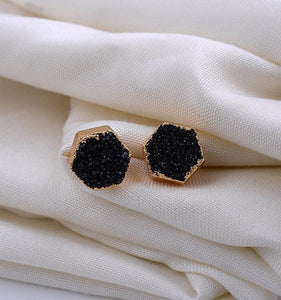 Natural Stone Agate Druzy Hexagon Black Gold Electroplated Stud Earrings