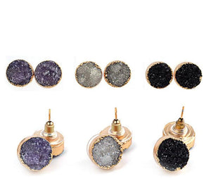 Special Round Black, Purple, White Druzy Natural Stone Earrings