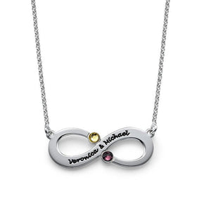 Infinity Love Name Birthstone Necklace Gift for Her