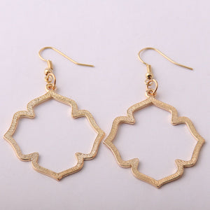 Simple Flower Shaped Marquise Dangle Earrings