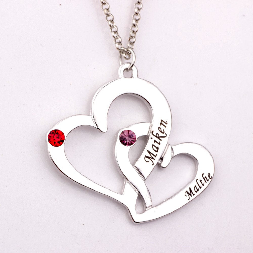 Two Hearts Personalized Necklace, With  Names and Birthstone Anniversary Gift