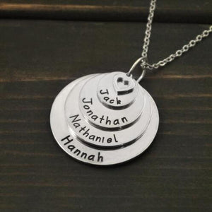 Family Disc Circles 4 Names little Heart Necklace