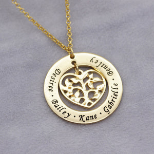Flower Family Names Engraved Necklace Gift for Mom