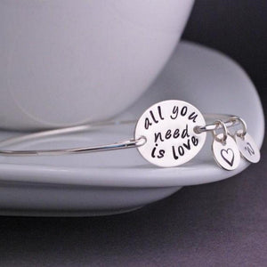 """ALL YOU NEED IS LOVE"" Initial Quote Charm Bracelet"