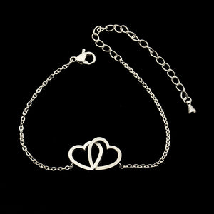 Dainty Open Connected Hearts Charm Bracelet Gift for Her