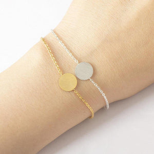 Minimalist  Charm Circle Gold, Silver Rustic Coin Bracelet