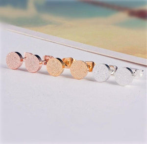 Cute Gold Silver Rose Gold Glitter Round Stud Earrings