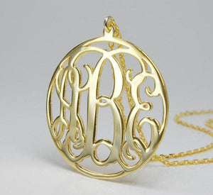 Personalized Circle Monogram Name Letters Necklace