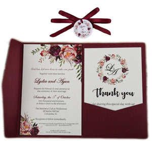 100 Blue Burgundy Pink Pocket Invitation Card With Ribbon & Tag For Wedding