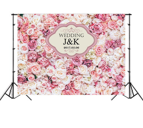 Personalized Names Floral Wedding Backdrop White Flower Bridal shower Photography Wall Background