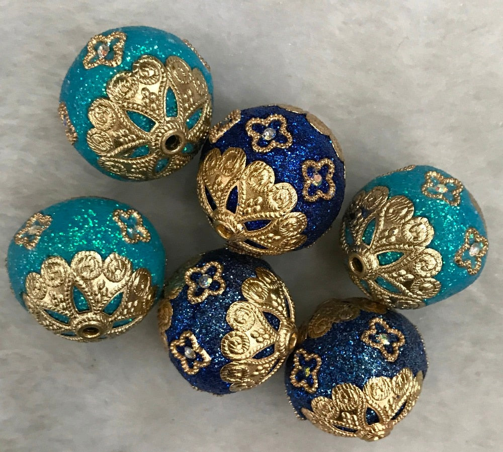 Elegant Handmade Indonesia Beads Loose Spacer with Brass Core Craft Bead