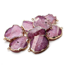 Agate Slice Pink Druzy Connector Healing Crystal Irregular Gold Electroplated Pendants for Necklaces