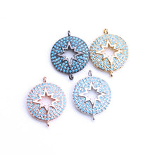 1pc Micro Pave CZ Disc  star charms connectors For Bracelet, Necklace Pendant Jewelry Accessories