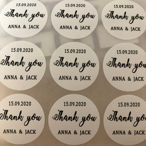 90 Personalized Round Circle Wedding Favor Gift Labels Gold Foil Names and Date Wedding Welcome Sticker