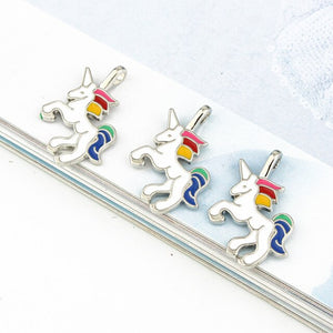 5pcs/Pack Trendy Enamel Unicorn Charm Pendant for DIY Jewelry Making Necklace Bracelet Earring