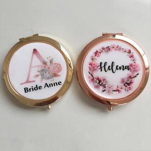 Personalized  Bridal Compact Mirror Scrip Names Bridesmaid Gift