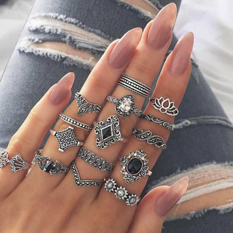 Women Bohemian Vintage Silver Stack Rings Above Knuckle Blue Rings Set