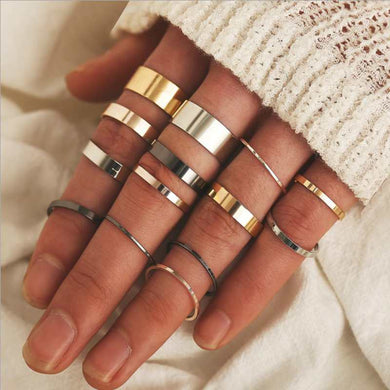 14 pieces / set of Three-color Joint Midi Creative Fashion Ring Set