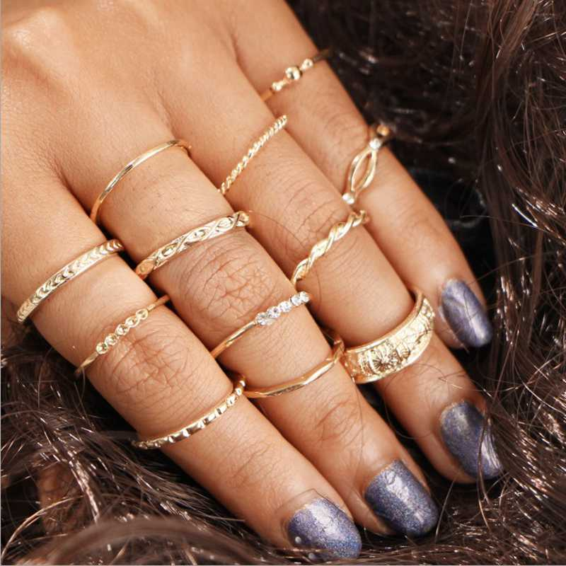 12 pieces / set of Bohemian Retro Knotted Semi-precious Gold Knuckle Rings Vintage Crystal Joint Knuckle Ring Set