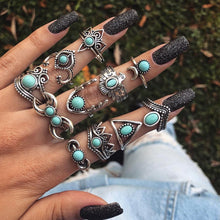 Vintage Bohemian Opal Knuckle Five Finger Stackable Rings Ring Set Joint Knuckle Rings Retro Vintage Jewelry