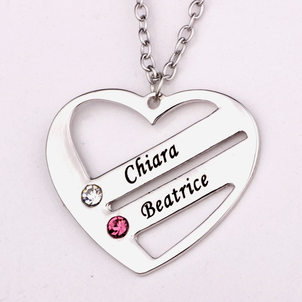 Love Forever Personalized Engraved Heart Pendant  Names with Shining Birthstones , Engagement Gift