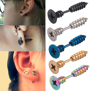Exotic 3D Cross Nail Fake Screws Stud Punk Gothic Style Earrings